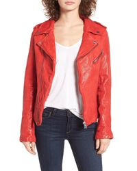 Lamarque - Red Washed Leather Moto Jacket - Lyst