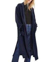 TOPSHOP - Blue Velvet Pocket Duster Coat - Lyst