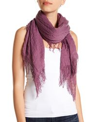 Roffe Accessories - Pink Crinkle Fringe Wrap Scarf - Lyst