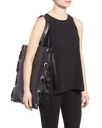 TOPSHOP - Black Premium Leather Grace Tote Bag - Lyst