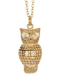 Anna Beck - Metallic 18k Gold Plated Sterling Silver Owl Pendant Necklace - Lyst