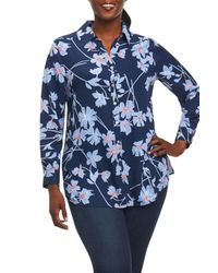 Foxcroft - Blue Ivy Coastal Floral Shirt (plus Size) - Lyst