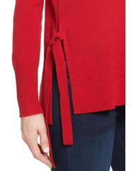 Halogen - Red (r) Side Tie Cashmere Sweater (regular & Petite) - Lyst