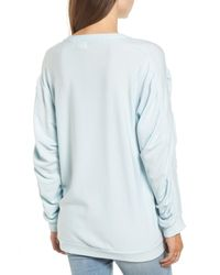 Project Social T - Blue Ruched Sleeve Sweatshirt - Lyst