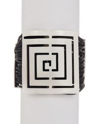 TMRW STUDIO - Metallic Antique Silver Plated Pewter Infinity Plate Wrap Bracelet - Lyst