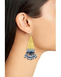 Nakamol - Blue Hammered Bead Drop Earrings - Lyst