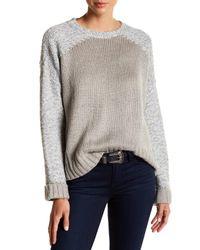 John + Jenn - Gray Mixed Yarn Crew Neck Sweater - Lyst