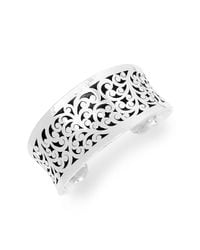 Lois Hill - Metallic Sterling Silver Medium Cutout Hammered Border Cuff Bracelet - Lyst