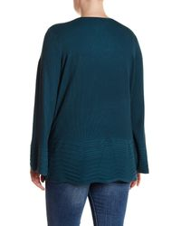 Cable & Gauge Blue V-neck Ribbed Knit Sweater (plus Size)