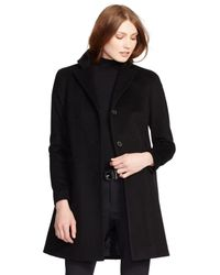 Lauren by Ralph Lauren - Black Reefer Wool-Blend Coat - Lyst