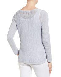 NIC+ZOE   Blue Sheer Dusk Cotton Blend Layering Sweater   Lyst