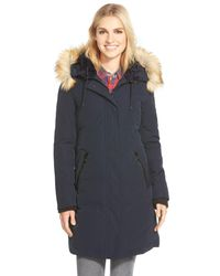 Vince Camuto - Blue Down & Feather Fill Parka With Faux Fur Trim - Lyst