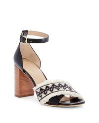 Pour La Victoire - Black Havana Block Heel Sandal - Lyst
