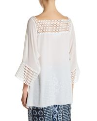 Analili - White Boatneck 3/4 Sleeve Blouse - Lyst