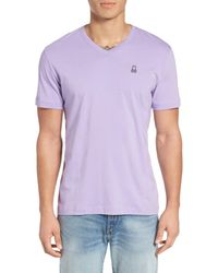 Psycho Bunny | Purple V-neck T-shirt for Men | Lyst