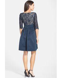 Eliza J - Blue Lace & Faille Dress - Lyst