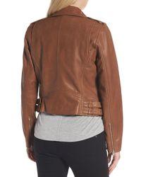 Andrew Marc - Brown Wesley Washed Leather Biker Jacket - Lyst