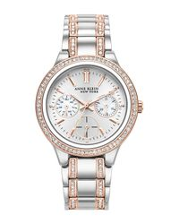 Anne Klein - Metallic Women's New York Swarovski Crystal Watch, 34mm - Lyst