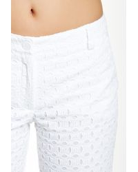 Anne Klein - White Cuffed Eyelet Pant - Lyst