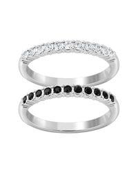 Swarovski - Metallic Crystal Mixed Ring Set - Size 7 - Lyst