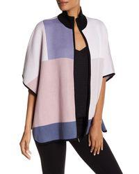 Anne Klein | Purple Knit Colorblock Poncho | Lyst