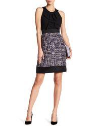 Anne Klein | Black Bow Sheath Dress With Tweed Skirt | Lyst
