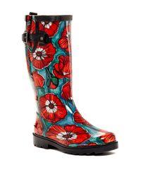 Chooka - Red Watercolor Poppy Waterproof Rain Boot - Lyst