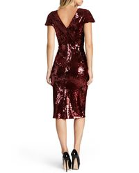 Dress the Population | Red 'elizabeth' Sequin Body-con Midi Dress | Lyst