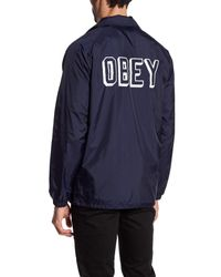 Obey | Blue Varsity Coach Jacket for Men | Lyst