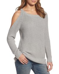 Treasure & Bond - Gray Asymmetrical Cold Shoulder Sweater - Lyst