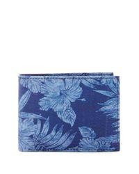 Tommy Bahama Blue Tropical Floral Slimfold Wallet for men