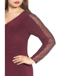 Xscape - Purple Embellished Jersey A-line Gown - Lyst
