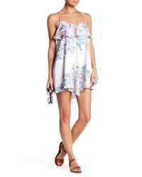Shoshanna - White Asymmetrical Printed Dress - Lyst