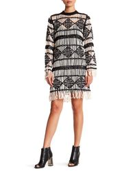 Nicole Miller - Black Soutache Crew Neck Dress - Lyst