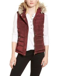 Dorothy Perkins - Red Faux Fur Trim Hooded Puffer Vest - Lyst