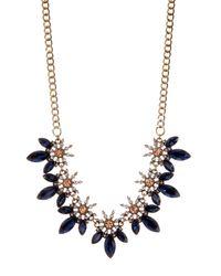 """ABS By Allen Schwartz Metallic Stone Frontal Necklace, 17"""""""