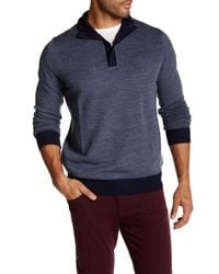 Tocco Toscano - Blue Birdseye Quarter Zip Mock Neck Sweater for Men - Lyst