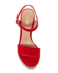 ALDO - Red Lovalewet Platform Wedge Sandal - Lyst
