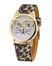Olivia Pratt - Metallic Women's Cat In Glasses Quartz Watch - Lyst