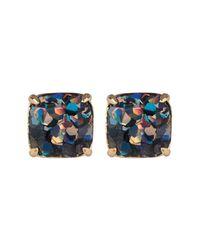 Kate Spade - Blue Glitter Square Stud Earrings - Lyst