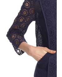 Trina Turk - Blue Narine Zip Front Crochet Lace Jacket - Lyst