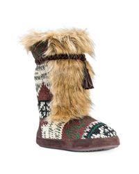 Muk Luks | Brown Jewel Faux Fur Trimmed Slipper | Lyst