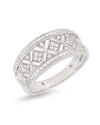 Bony Levy - Metallic 18k White Gold Diamond Accent Cutout Detail Wide Band Ring - 0.11 Ctw - Lyst