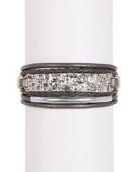 Saachi - Gray Grey & Silver Unpaved Bar Genuine Leather Bracelet - Lyst