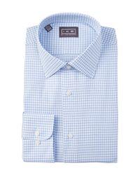 Ike Behar | Blue Oxford Check Full Fit Dress Shirt for Men | Lyst