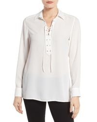 Foxcroft | White Lace-up Placket Blouse | Lyst