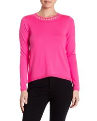 MILLY | Pink Bar Inset Wool Pullover | Lyst