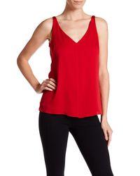 MILLY | Red V-neck Silk Tank | Lyst