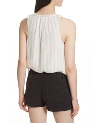 Joie - White Aruna Metallic Stripe Top - Lyst