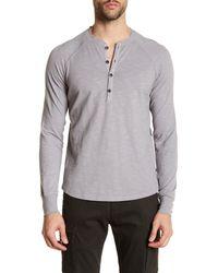 Good Man Brand - Gray Long Sleeve Henley Shirt for Men - Lyst